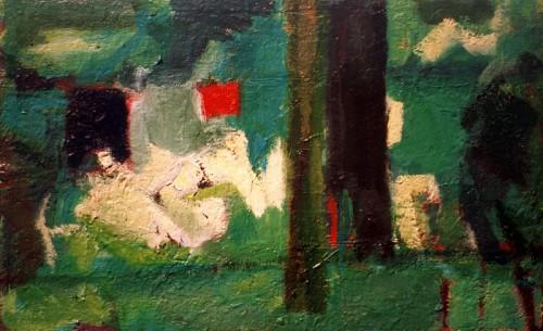 Fotograf: Gunnar Kristen HansenVærk  titel: Grønt billede Værk  type: Maleri Materiale: Olie på træ Størrelse: 25x35 cm Færdiggjort: 1996 Placering: Privat