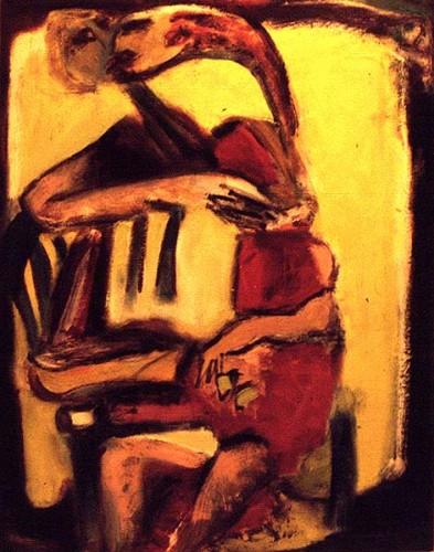Fotograf: Eget fotoVærk  titel: Kysset Værk  type: Maleri Materiale: Olie på lærred Størrelse: 85x67 cm. Færdiggjort: 1996