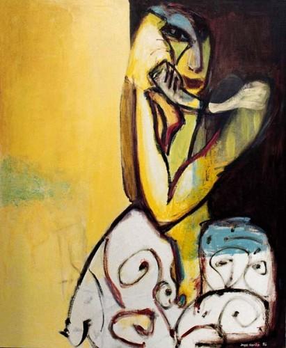 Fotograf: Eget fotoVærk  titel: Proffessorinden Værk  type: Maleri Materiale: Olie på lærred Størrelse: 145x120 cm. Færdiggjort: 1996