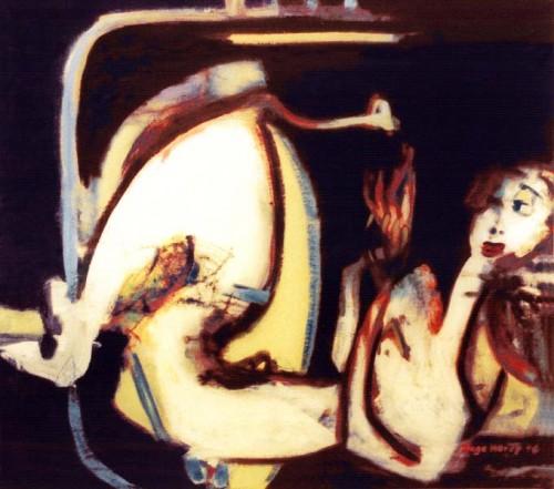 Fotograf: Eget fotoVærk  titel: Liggende akt Værk  type: Maleri Materiale: Olie på lærred Størrelse: 83x95 cm. Færdiggjort: 1996