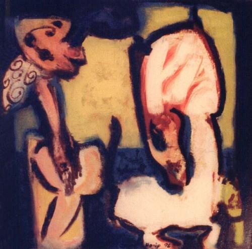 Fotograf: Eget fotoVærk  titel: Kærestepar Værk  type: Maleri Materiale: Olie på masonit Størrelse: 40x40 cm. Færdiggjort: 1996