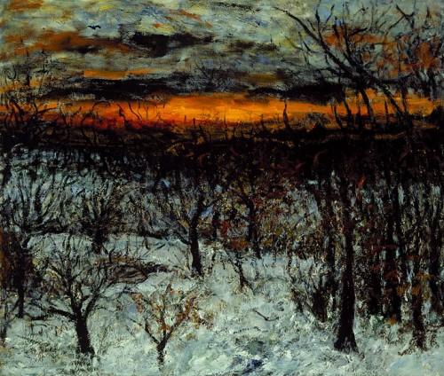 Fotograf: Wermund BendtsenVærk  titel: Rød vinter Værk  type: maleri Materiale: olie på lærred Størrelse: 120x100
