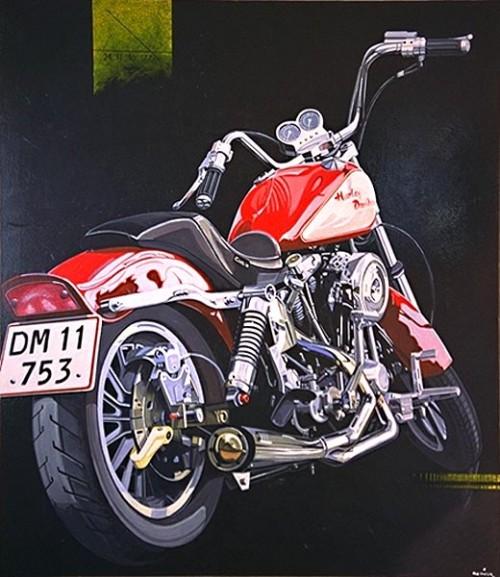Fotograf: Eget fotoVærk  titel: The Bike Værk  type: Maleri Materiale: Acryl på lærred Størrelse: 150 x 130 cm. Færdiggjort: 1998