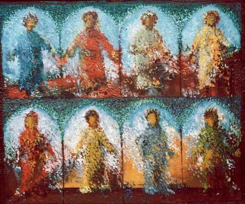 Fotograf: Helge MathiesenVærk  titel: Altertavlefragment Værk  type: Maleri Materiale: Olie på masonit Størrelse: 79x93 cm. Færdiggjort: 1993