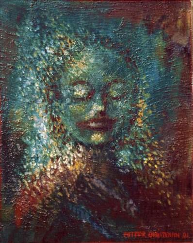 Fotograf: Helge MathisenVærk  titel: Ophelia Værk  type: Maleri Materiale: Olie på masonit Størrelse: 80x70 cm. Færdiggjort: 1993 Placering: Privat eje