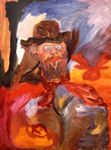 Fotograf: Villy Yde KjærgaardVærk  titel: Manden med læderhatten Værk  type: Maleri Materiale: Olie på lærred Størrelse: 168x122 cm. Færdiggjort: 1992