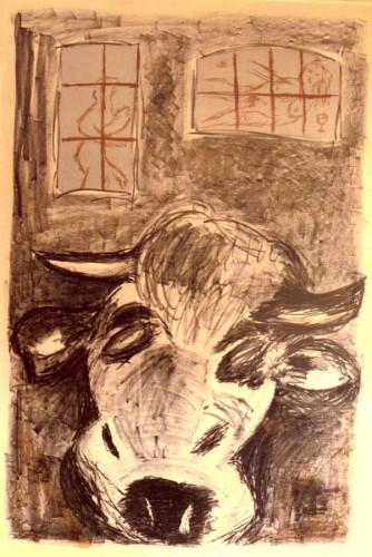 Fotograf: Villy Yde KjærgaardVærk  titel: Ensom ko med drømme Værk  type: Litografi Størrelse: 140x97 cm. Færdiggjort: 1989