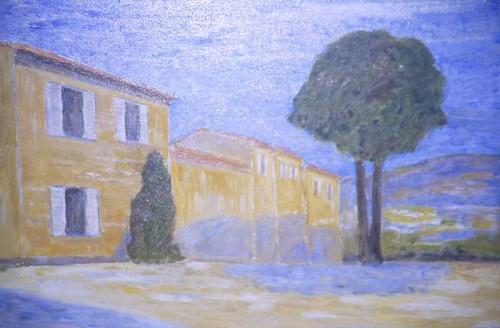 Fotograf: Børge HolmgrenVærk  titel: Landskab, Provence Værk  type: Maleri Materiale: Olie på lærred Størrelse: 50 x 65 cm Færdiggjort: 1995 Placering: Privat eje