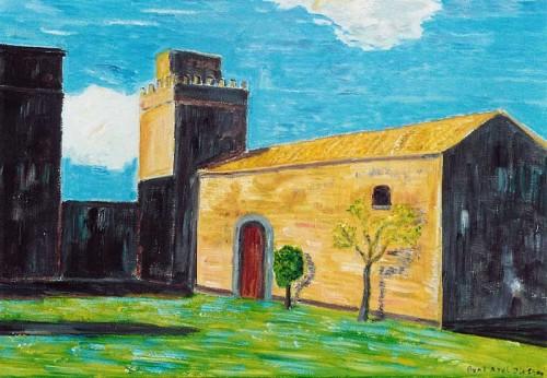 Fotograf: Eget fotoVærk  titel: Italiensk bondegård, Sicilien Værk  type: Maleri Materiale: Olie på lærred Størrelse: 50 x 65 cm Færdiggjort: 2001 Placering: Privat eje