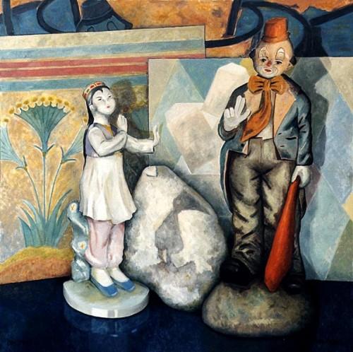 Fotograf: Eget fotoVærk  titel: Danserinden og klovnen Værk  type: Maleri Materiale: Olie på lærred Størrelse: 150x150 cm Færdiggjort: 1997