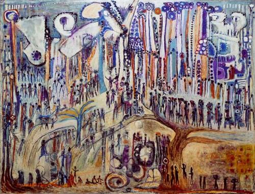 Fotograf: Jørn KornVærk  titel: C - Grå virkelighed (flygtninge) Værk  type: Maleri Materiale: Olie på lærred Størrelse: 100 x 130 cm Færdiggjort: 1975