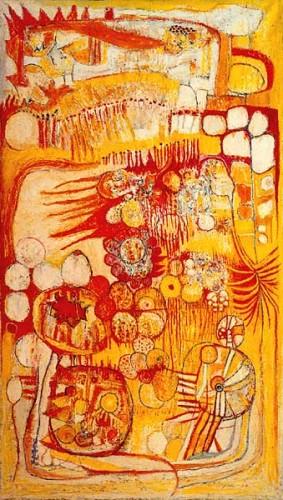 Fotograf: Jørn KornVærk  titel: F - Min afrikanske have Værk  type: Maleri Materiale: Olie på lærred Størrelse: 130 x 75 cm Færdiggjort: 1980