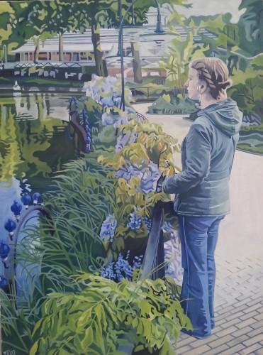 Kunstneren selv ved sø i Tivoli, 60x80 cm. Priser og kontaktinformationer kan ses på www.mariefredborg.dk