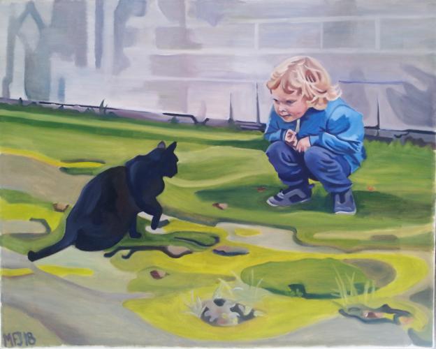 Min søn leger med en sort kat, 50x40 cm, 2000 kr. Bestilling af portrætter modtages. Se mere på www.mariefredborg.dk
