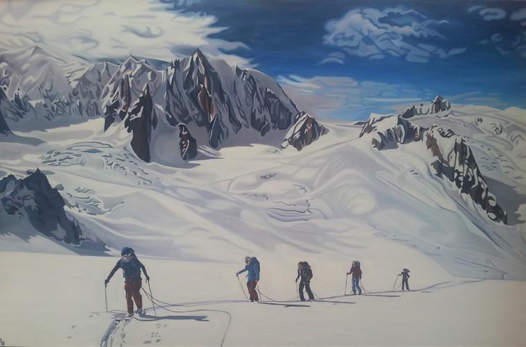 Skiløbere i solbeskinnet bjerglandskab. Bestilling. 120x180 cm.