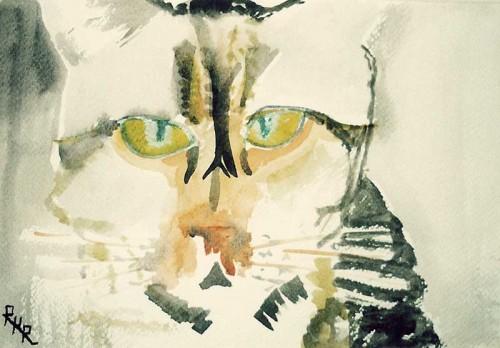 Fotograf: Eget fotoVærk  titel: Kat Værk  type: Akvarel Materiale: Akvarel på papir Størrelse: 15 x 23 cm Færdiggjort: 1996 Øvrigt: Et af en serie på 12