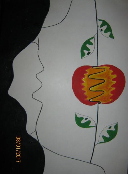 """Subtitel: """"Paradise Lost"""" Hvis man roterer billedet ser man et helt andet. Du kan se også i æblet sidder den sorte slange."""